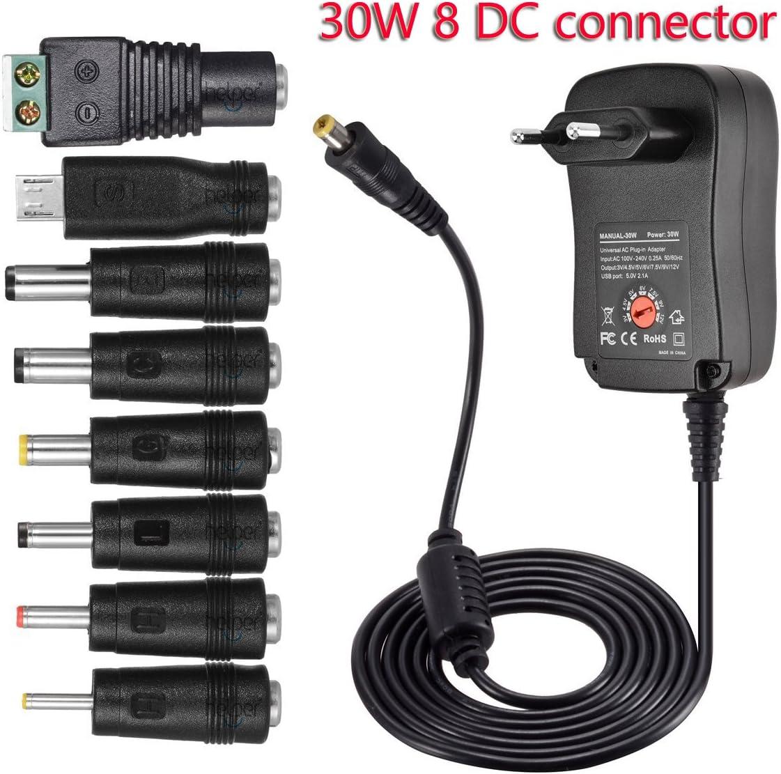 helpers lab 30W Universal Conector de Fuente 3V-12V 2000mA MAX AC/DC Adaptador Fuente de Alimentación conmutada con 8 Desmontable DC Conector con Puerto USB 5V 2,1A