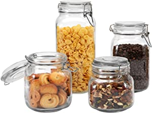 Focus Line Glass Jars with Airtight Lids, Set of 4 Food Storage Canisters Square, Storage Containers with Leak Proof Rubber Gasket, for Kitchen Canning Cereal Pasta Sugar Spice(25/34/51/68oz)