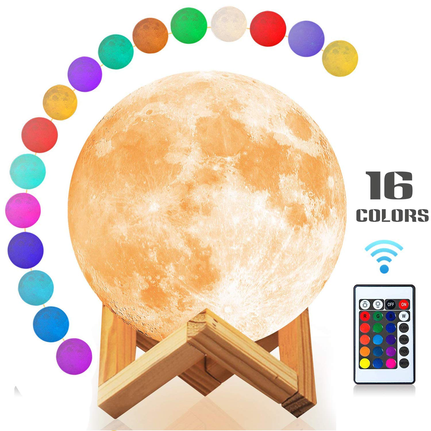 3D Moon Lamp with Stand Moon Light Touch Control Baby Night Light 16 Colors LED 3D Print Moon Night Light Remote Control USB Rechargable Moon Lamp for Kids Halloween Christmas (5.9 inch / 16 Colors)