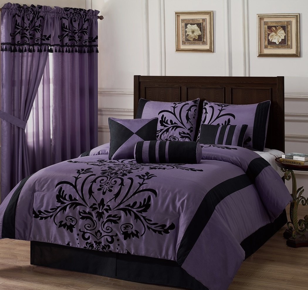 7-piece Black Violet Flocked Floral Faux Silk Bedding Comforter Set  California King