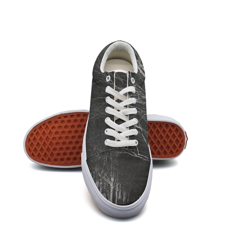 Ouxioaz Womens Skateboarding Shoes Dark Street Trees Shoe Laces