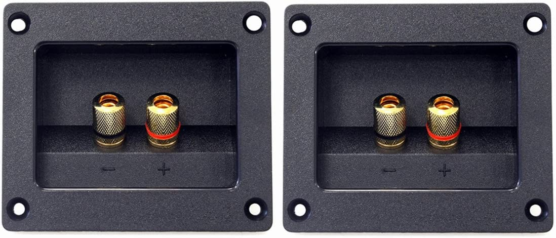 Kalevel 2pcs DIY Home Car Stereo 2-Way Speaker Box Terminal Round Square Spring Cup Connector Binding Post Banana Jack and Plugs Subwoofer Plugs 93x80mm (Black)
