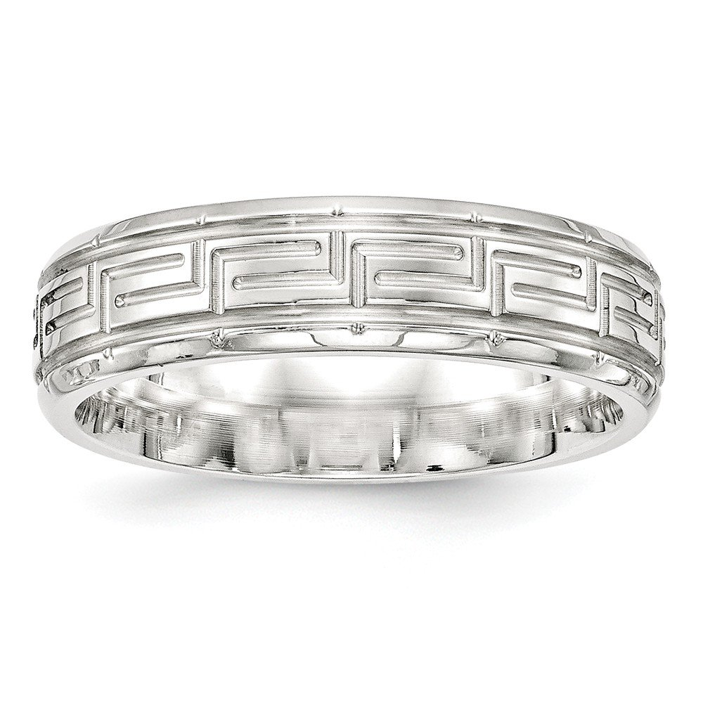 JewelrySuperMart Collection Sterling Silver 6mm Greek Key Design Wedding Band with Beveled Edge