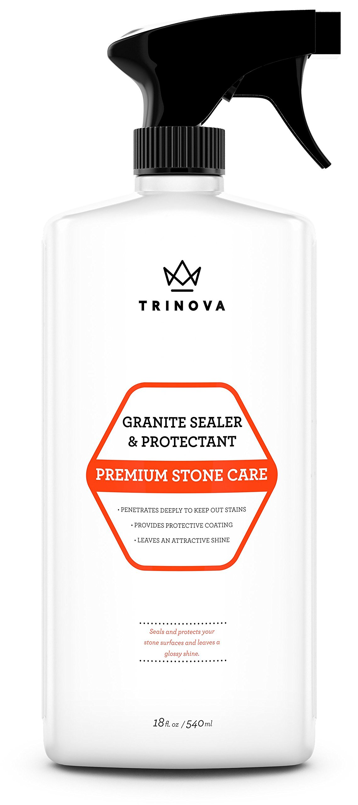 Granite Sealer & Protector - Best Stone Polish, Protectant & Care Product - Easy Maintenance for Clean Countertop Surface, Marble, Tile - No Streaks, Stains, Haze, or Spots - 18 OZ - TriNova by TriNova