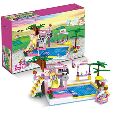 BRICK STORY Summer Pool Party Toy Building Set with Diving Platform Slides Juice Bar Sun Lounger Resort Building Blocks Kit Gift for Girls Boys Aged 6-12 (302 PCS): Toys & Games