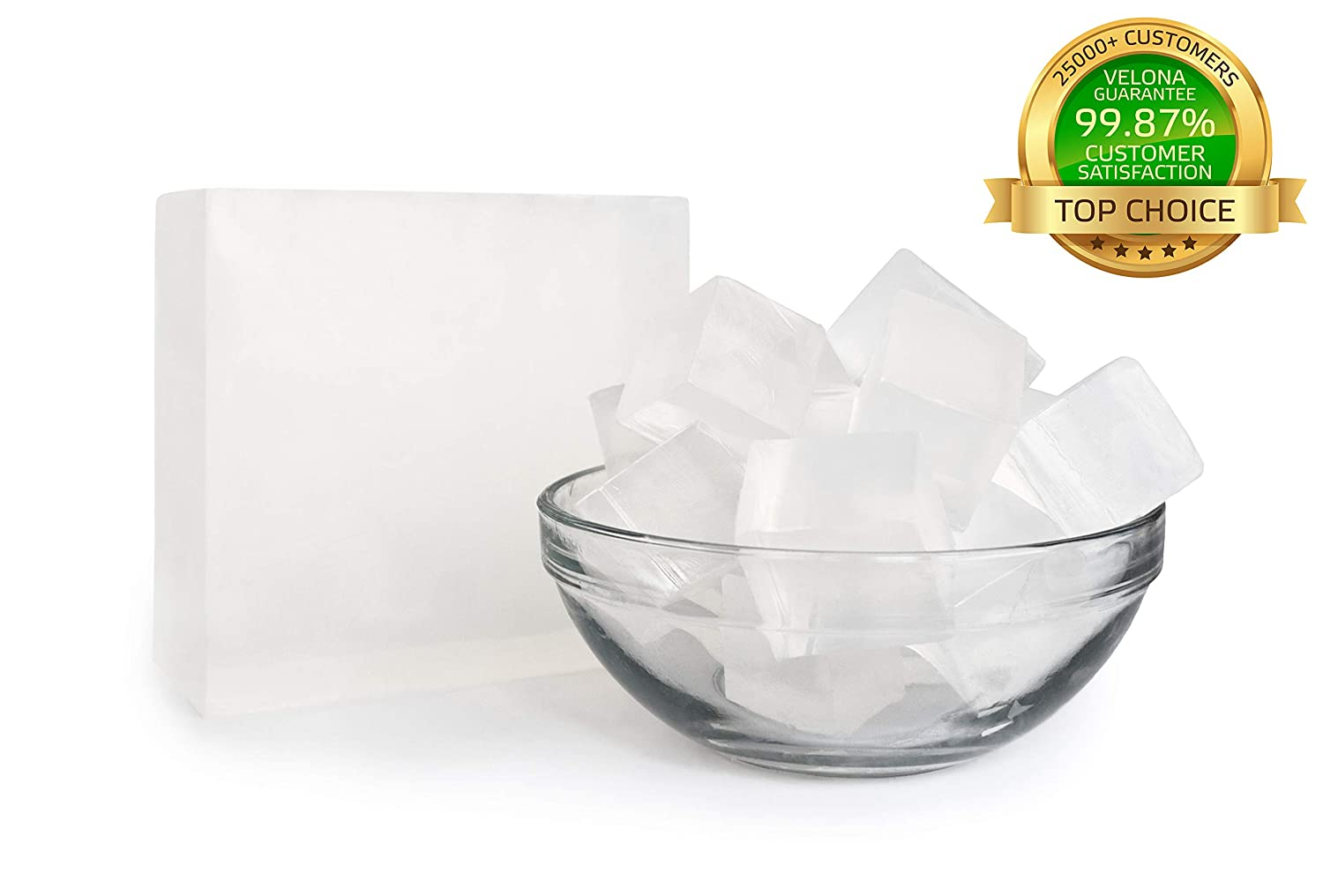 100/% Organic Ultra Clear Transparent Glycerin Soap Base by Velona 25 lb Size Melt /& Pour All Natural Bar for The Best Result