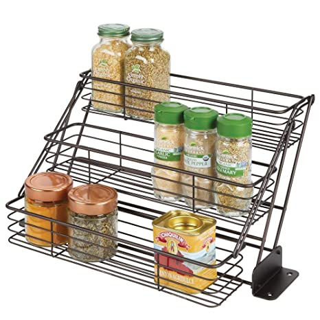 Amazon Com Mdesign Modern Metal 3 Tier Pull Down Spice Rack Easy