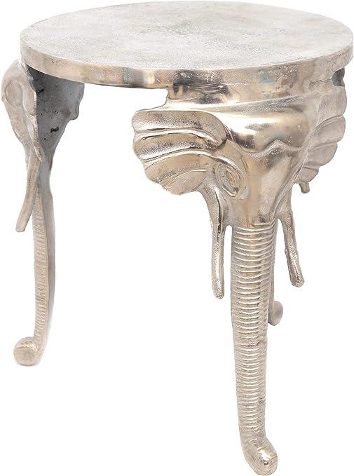 Sila - Mesa Auxiliar (40 cm), diseño de Elefante, Color Plateado ...