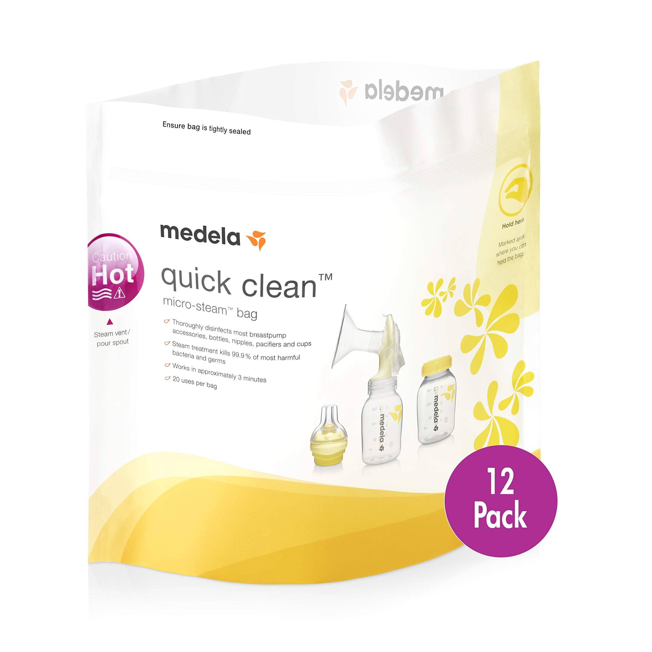 Medela Quick Clean Micro-Steam Bags, 12Count Sterilizing Bags for Bottles & Breast Pump Parts, Eliminates 99.9% of Common Bacteria & Germs, Disinfects Most Breastpump Accessories by Medela