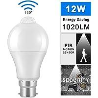 LED Light Bulb Dimmable, B22 LED Bulb Light Sensor PIR Sensor AC 85-265V Energy-saving 12W LED Lamp Bulb 6000K Cool…