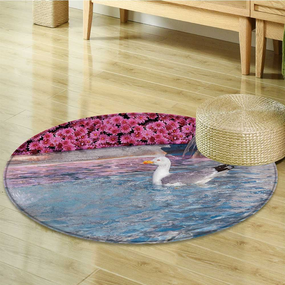 Nalahomeqq Seagulls Decor Collection Seagull in Fountain Flowers Marble Statue Architecture Touristic Town Cityscape Image Polyester Fabric Room Circle carpet Extra Pink White-Diameter 130cm(51'')