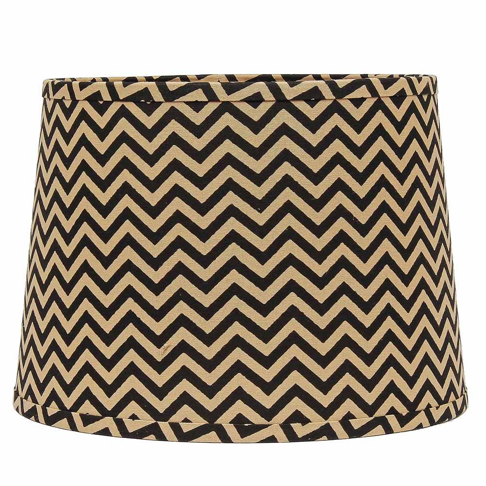 Home Collection by Raghu 0D790030 Black & White Chevron Regular Clip Drum Lampshade, 10''