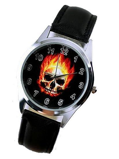 GBB09 Reloj de pulsera para niño, estilo moderno, diseño de esqueleto Marvel de Ghost Rider: Amazon.es: Relojes