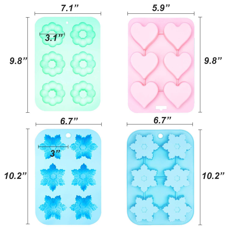 Senbowe Silicone Donuts Baking Mold- Set of 4 | Silicone Cake Baking Molds,| Round Doughnut-shape (6) | Flower-shape(6)| Snowflake-shape (6)|Non Stick Baking Molds Set | Oven & Dishwasher Safe by senbowe (Image #1)