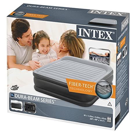 Intex - Colchón hinchable Intex fibertech deluxepillow 152x203x42 ...