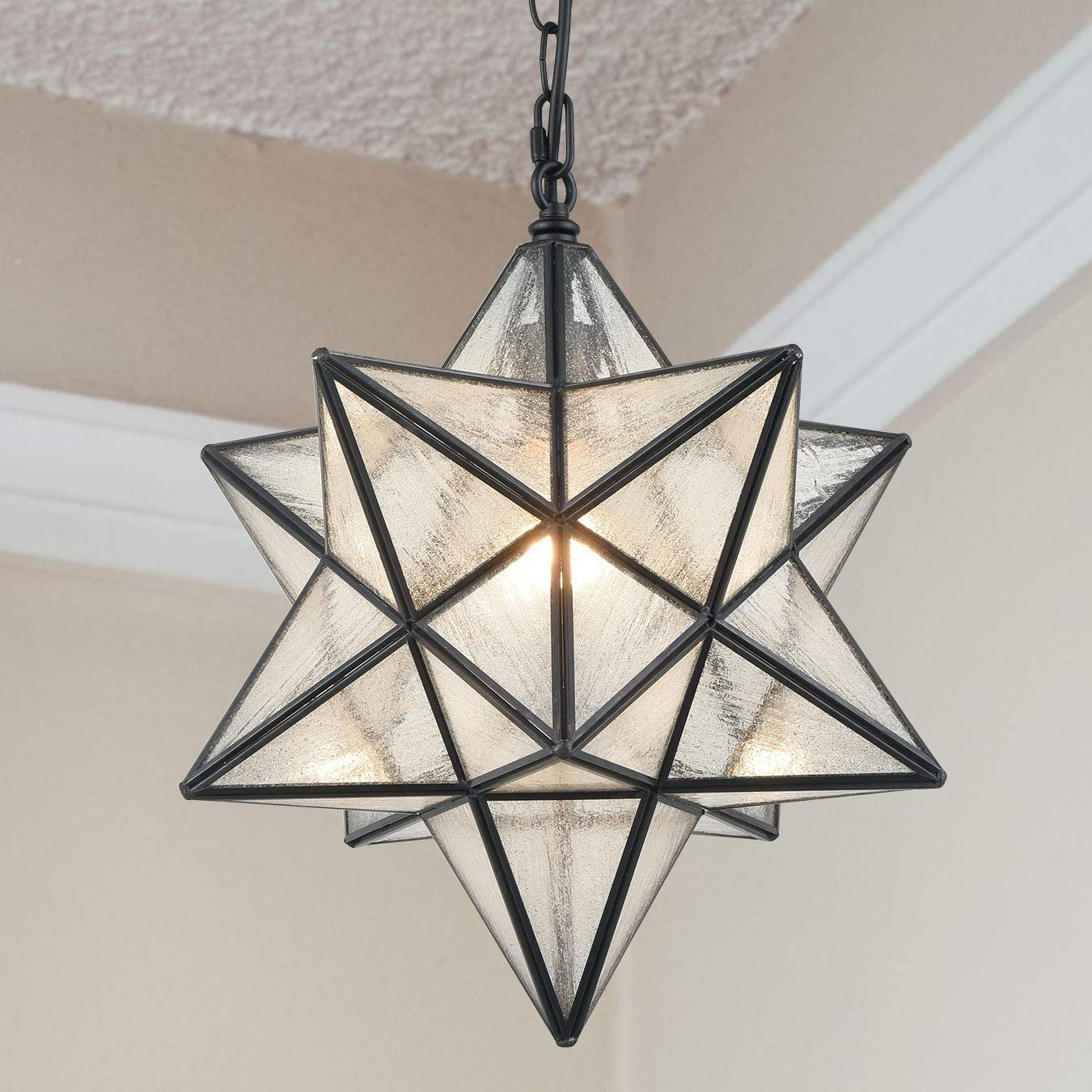 Modern Moravian Star Pendant Light Seeded Large Glass Star Lights with Chain, 16