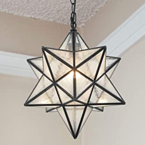 Modern Moravian Star Pendant Light Seeded Large Glass Star Lights with Chain, 16''