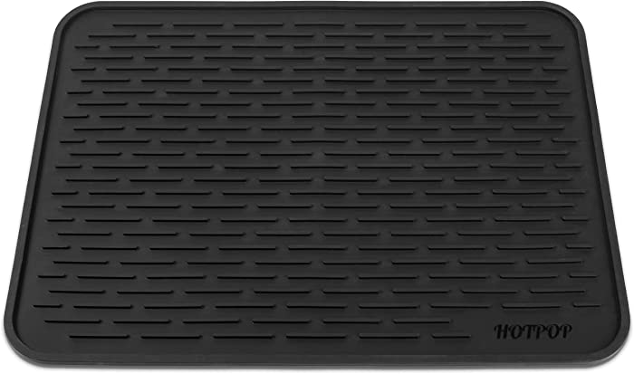 "HOTPOP XXL (24""x18"") Super Sturdy Silicone Dish Drying Mat and Trivet, Dishwasher Safe, Heat Resistant, Eco-Friendly (Black)"
