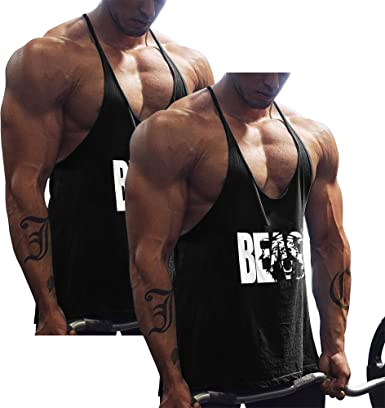 Sleeveless Mens Bodybuilding Gym Equipment Stringers Y BACK Fitness Vest Tops
