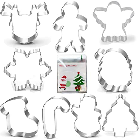 Provided New!3d Christmas Santa Deer Sled Biscuit Mould 304 Stainless Steel Cookie Cuter 5 Pieces Cookie Cutter With 3 Pieces Stencil Wedding & Anniversary Bands