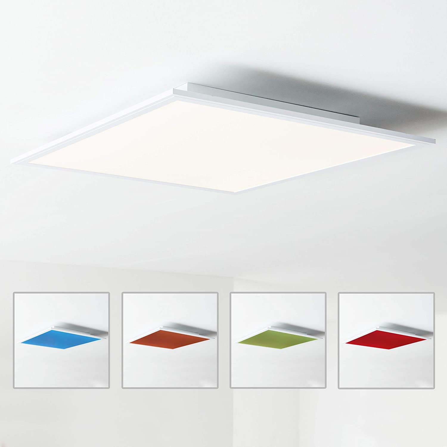 Panel LED para techo, 60 x 60 cm, cambio de color entre rojo, amarillo y azul, con mando a distancia, 1 x 40 W LED integrado, 1 x 4000 lúmenes, 2700 – 6500 K, metal/plástico, blanco