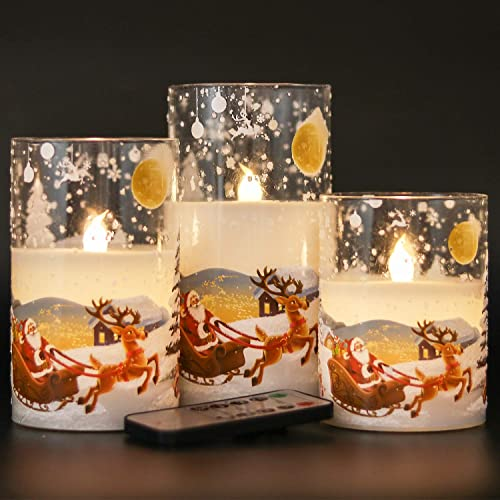 DRomance White Christmas Glass Flickering Flameless Candles Battery Operated with 10-Key Remote and Timer Set of 3 Real Wax Holiday LED Window Pillar Decor Candles Santa Decal, 3 x 4, 5, 6 Inches