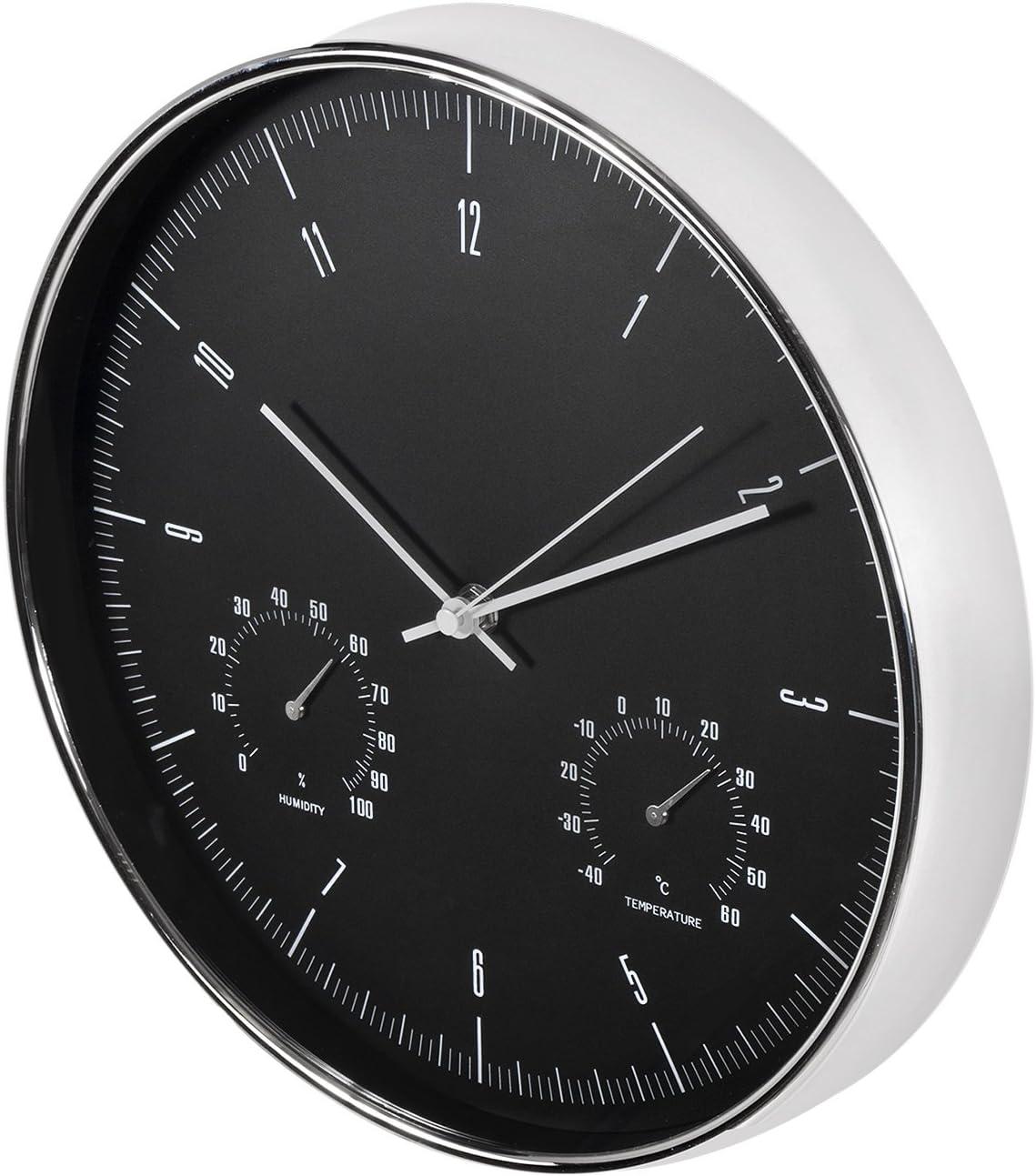 Maclean Reloj de Pared con termómetro e higrómetro 12