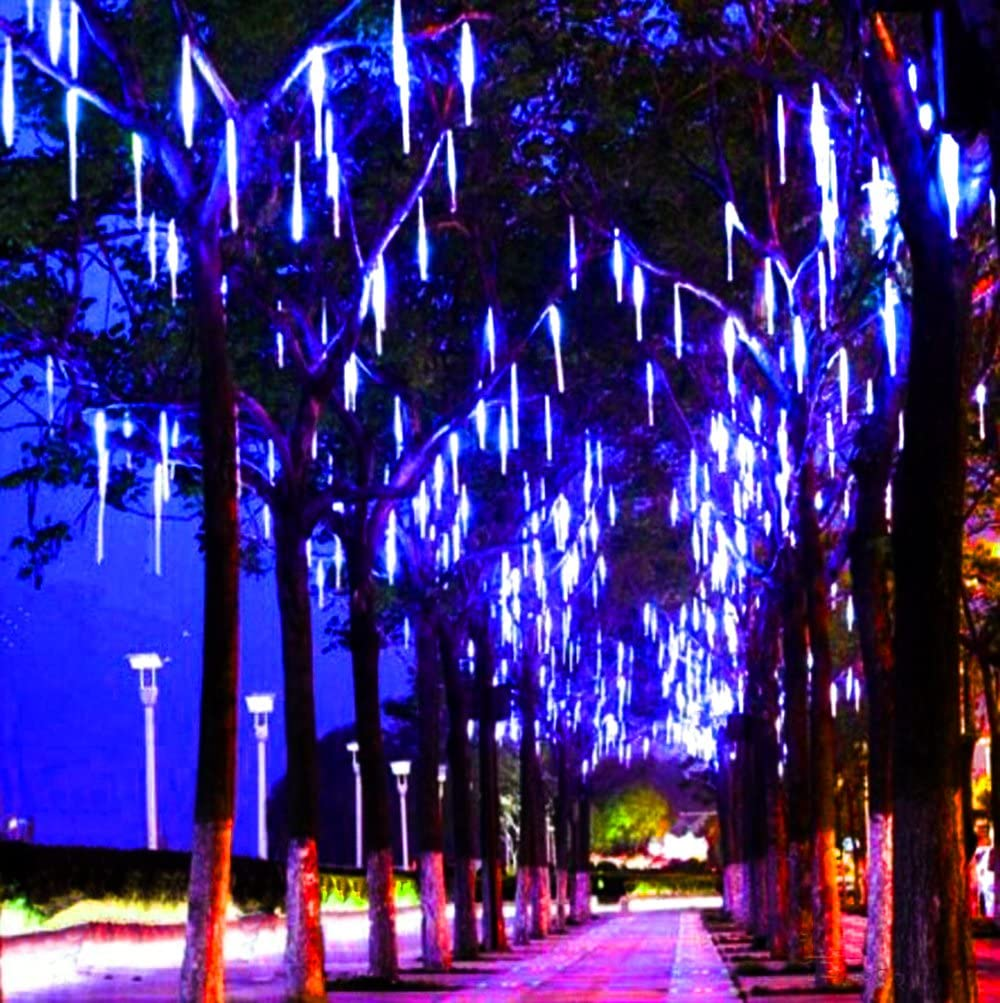Alkbo Blue Color Meteor Shower Rain Lights Waterproof String for Wedding Party Christmas Xmas Decoration Tree Party Garden Xmas String Light Outdoor 10FT 8 Tube
