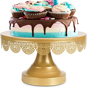 Cake Stand Cake Holder Gold Cupcake Stands 10In Dessert Stand Cake Plate Cake Display Stands for Wedding Birthday Party Celebration Home Decor (Gold)