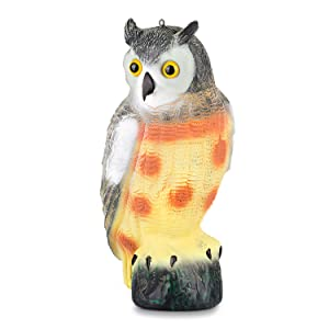 """briteNway Large Scarecrow Owl Decoy Statue Realistic Fake Owl Outdoor Pest & Bird Deterrent, Hand-Painted Garden Protector, Scares Away Squirrels, Pigeons, Rabbits & More – 16,5"""" Hollow Design"""