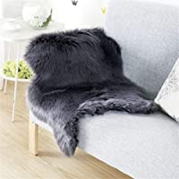 Faux Fur Sheepskin Style Rug (60 x 90 cm) Faux Fleece Chair Cover Seat Pad Soft Fluffy Shaggy Area Rugs For Bedroom Sofa Floor (white) …