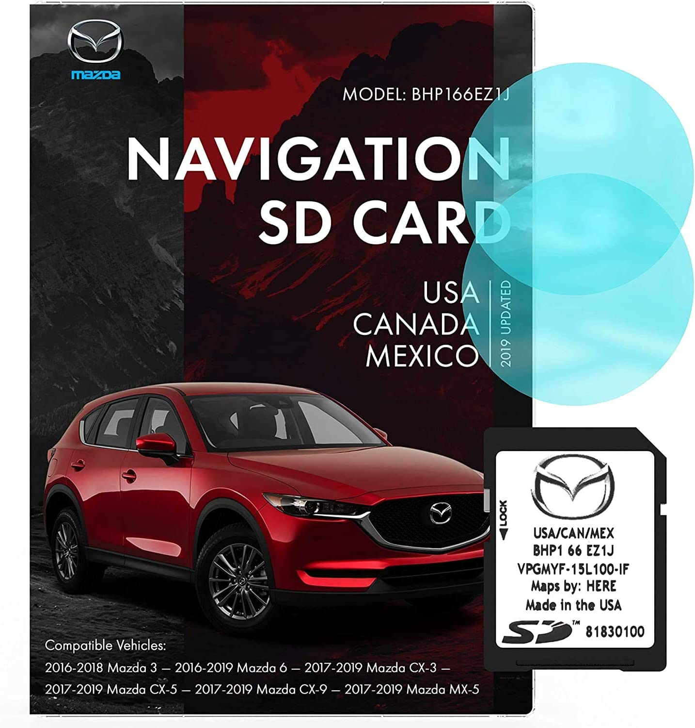 Mazda SD Navigation Card BHP166EZ1J | Latest Update 2019 | Mazda 3 6 CX-3 CX-5 CX-9 | Voice Turn Direction Guidance, Support Speed and Red Light Warning