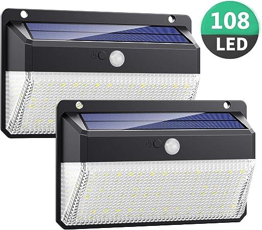 Luz Solar Exterior 108LED, Kilponen Foco Solar Exterior con Sensor ...