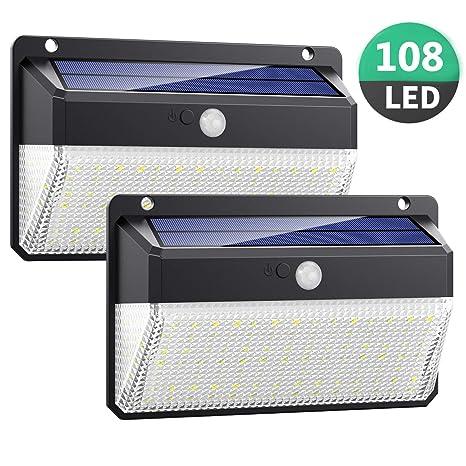 Luz Solar Exterior 108LED, Kilponen Foco Solar Exterior con Sensor de Movimiento Lámpara Solar Impermeable Gran Ángulo 270º de Iluminación Luces ...