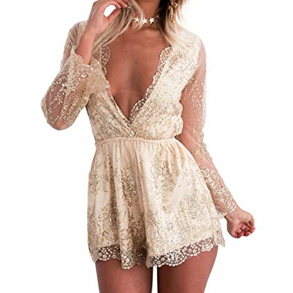 b4f45958b4db Mifusanahorn Women Long Sleeve Sequin V-Neck Top Jumpsuits Bodysuit Romper  with Short (Color   Gold