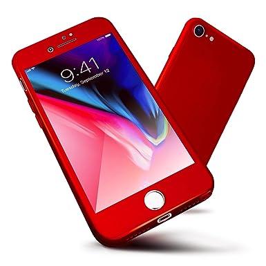 ORETECH Funda iPhone 7, iPhone 7 Case Cover Carcasa 360 Grados con [Protector de Pantalla de Vidrio Templado][Ultra-Delgado] [Ligera] Anti-rasguños ...