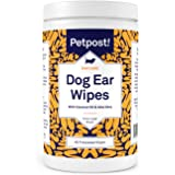 Petpost | Large Dog Ear Cleaner Wipes - 60 Ultra Soft XL Cotton Pads in Coconut Oil Aloe Solution - Remedy for Dog Ear…