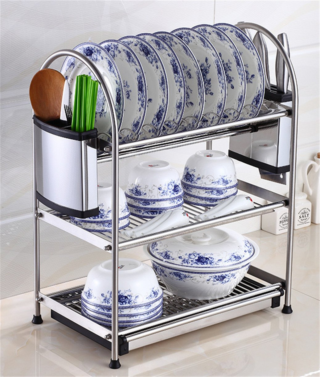 Stainless Steel Dish Drying Rack,Kpblis Stylish and Elegant Design,Advanced Dish Racks for Any Kitchen Style(3-Tier Dish Rack) by Kpblis