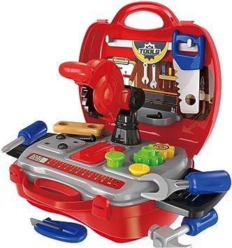 Caja de Herramientas Juguete con Accesorios Plástico Educación Maletín De Transporte para Niño: Amazon.es: Juguetes y juegos
