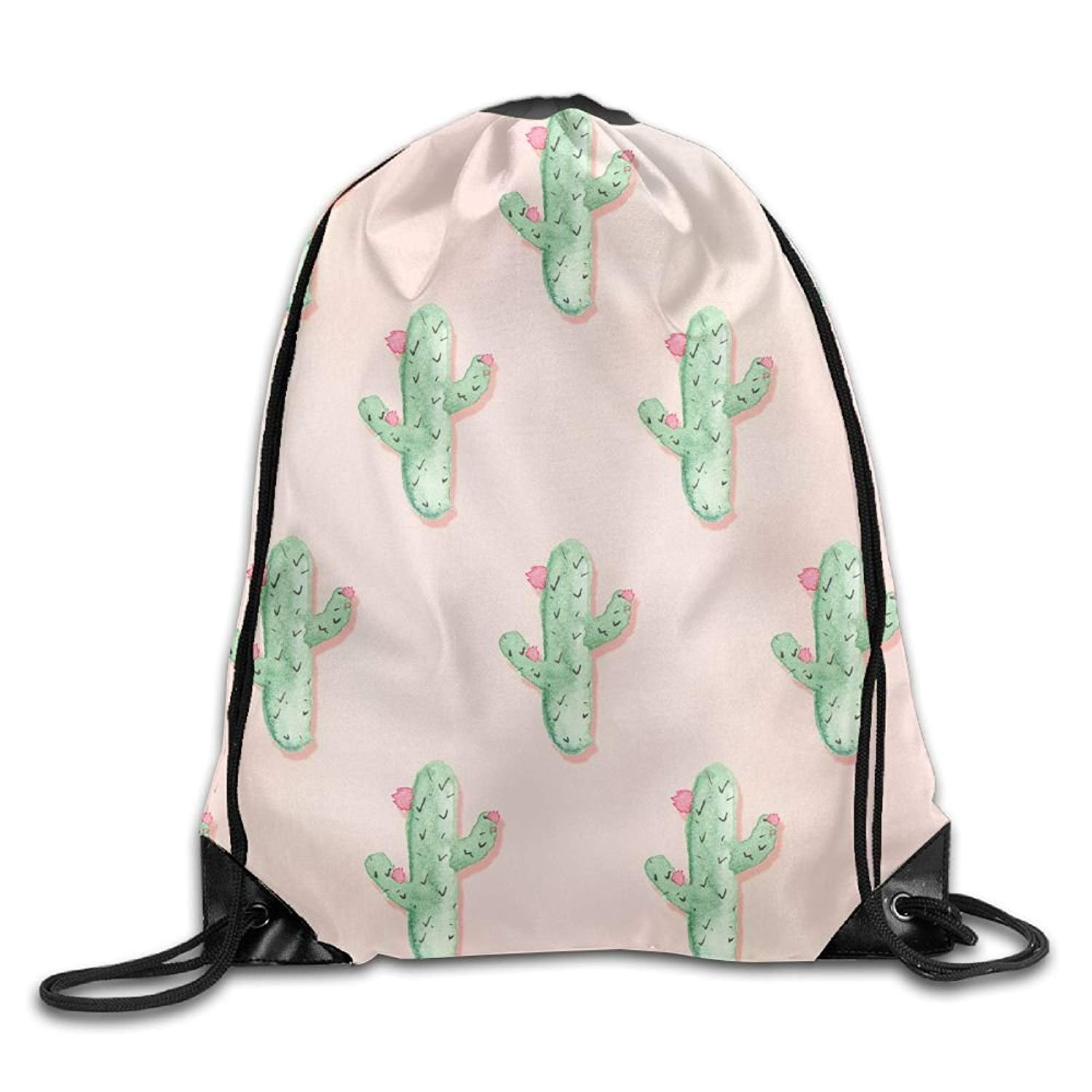 Gym Drawstring Bags Cactus Pattern Background Draw Rope Travel Backpack Tote Student Camping
