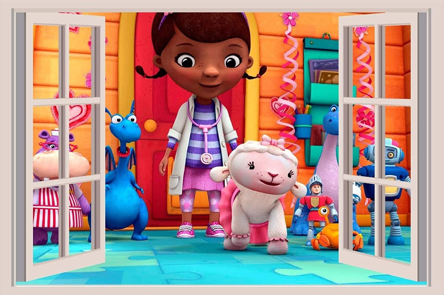 Doc Mcstuffins 3D Window View Decal WALL STICKER Art Mural Walt 18 24or 36