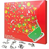 Cool Brain Teaser Puzzles for Adults Gift Boxes of 24 Pieces Metal Puzzles Games for Teens Challenge Fidget Toys Indoor…
