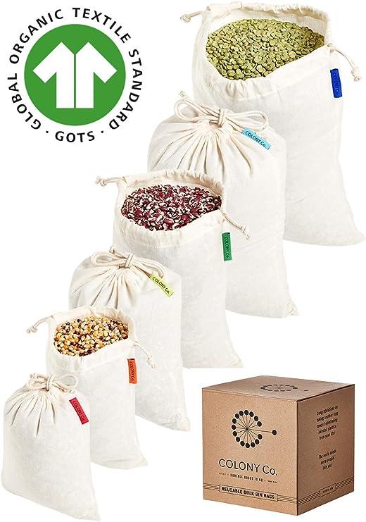 Colony Co. Bolsas Reutilizables para Alimentos a Granel, Algodón ...