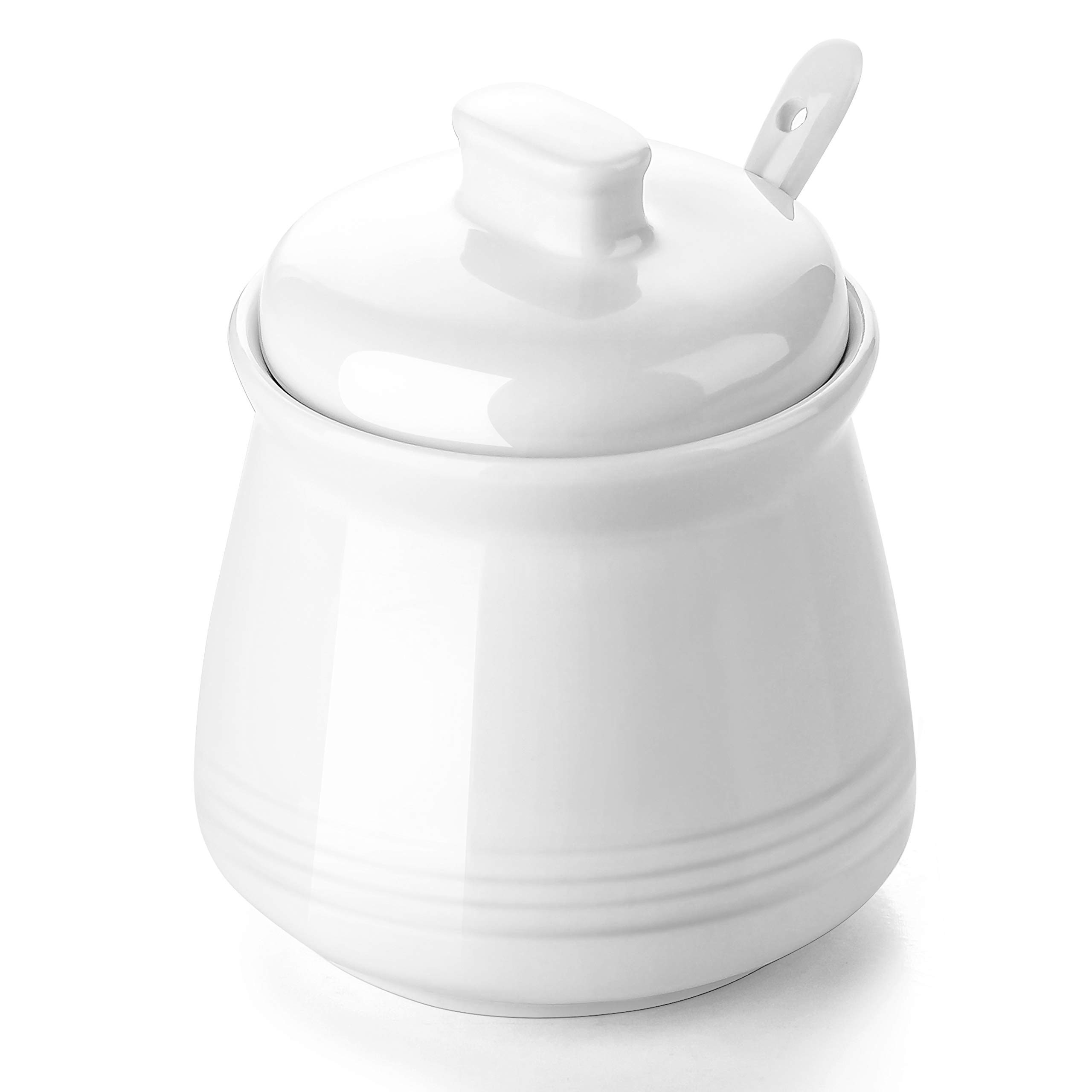 DOWAN Porcelain Sugar Bowl with Spoon and Lid, Suit for Home or Restaurant, White, 12 Ounces