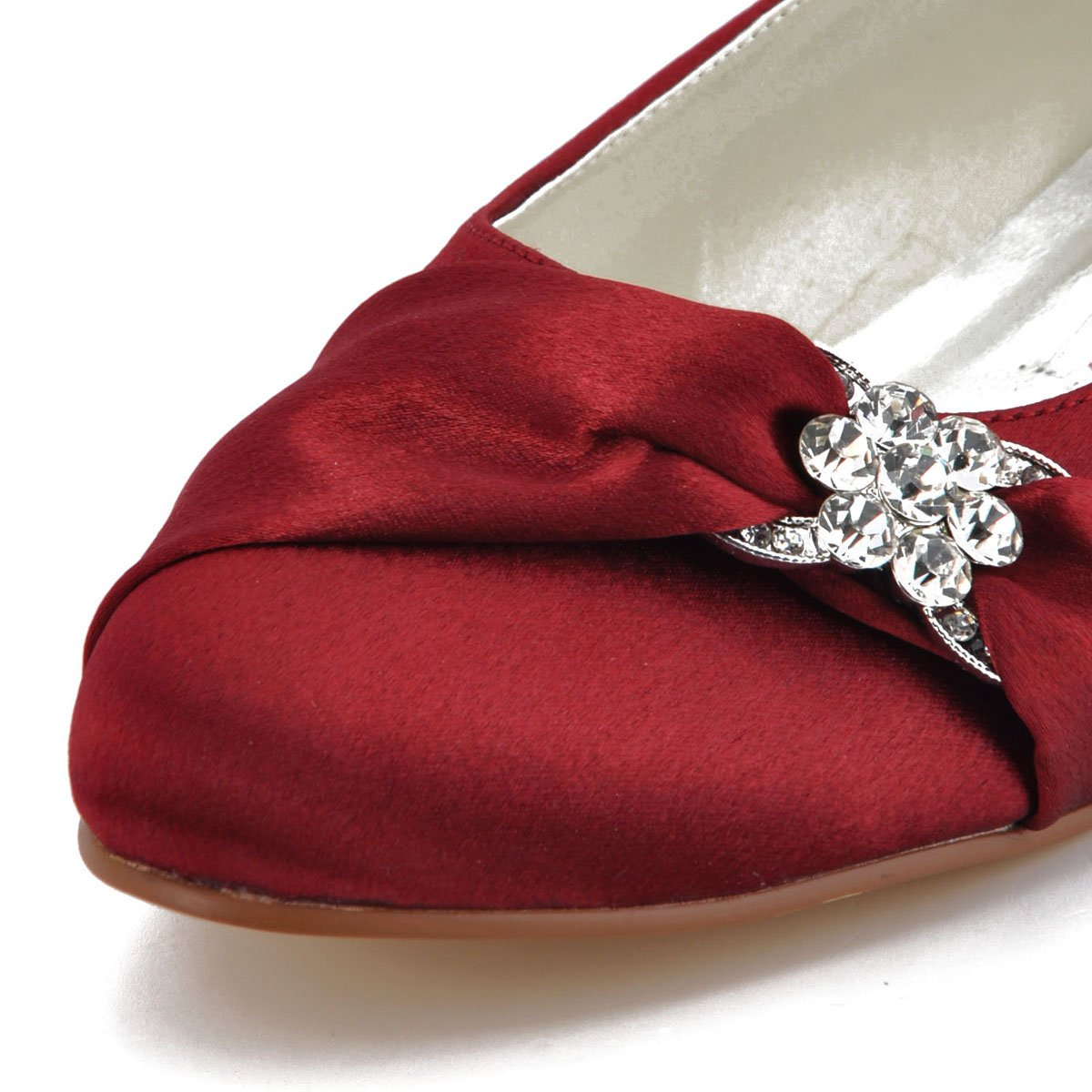 ElegantPark EP2006 Women Closed Rhinestones Comfort Flats Pleated Satin Wedding Bridal Shoes Burgundy US 12