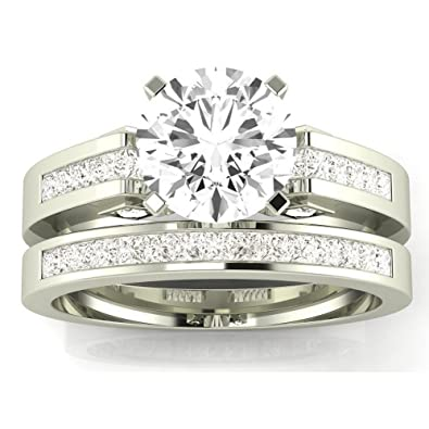 Certified 1.45 Ct White Round Cut Bridal Wedding Engagement Ring 14k White Gold Jewelry & Watches Engagement & Wedding