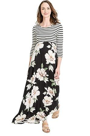 bf8cfe015ff Hello MIZ Women s Floral Color Block Stripe Maxi Maternity Dress - Made in  USA (Black
