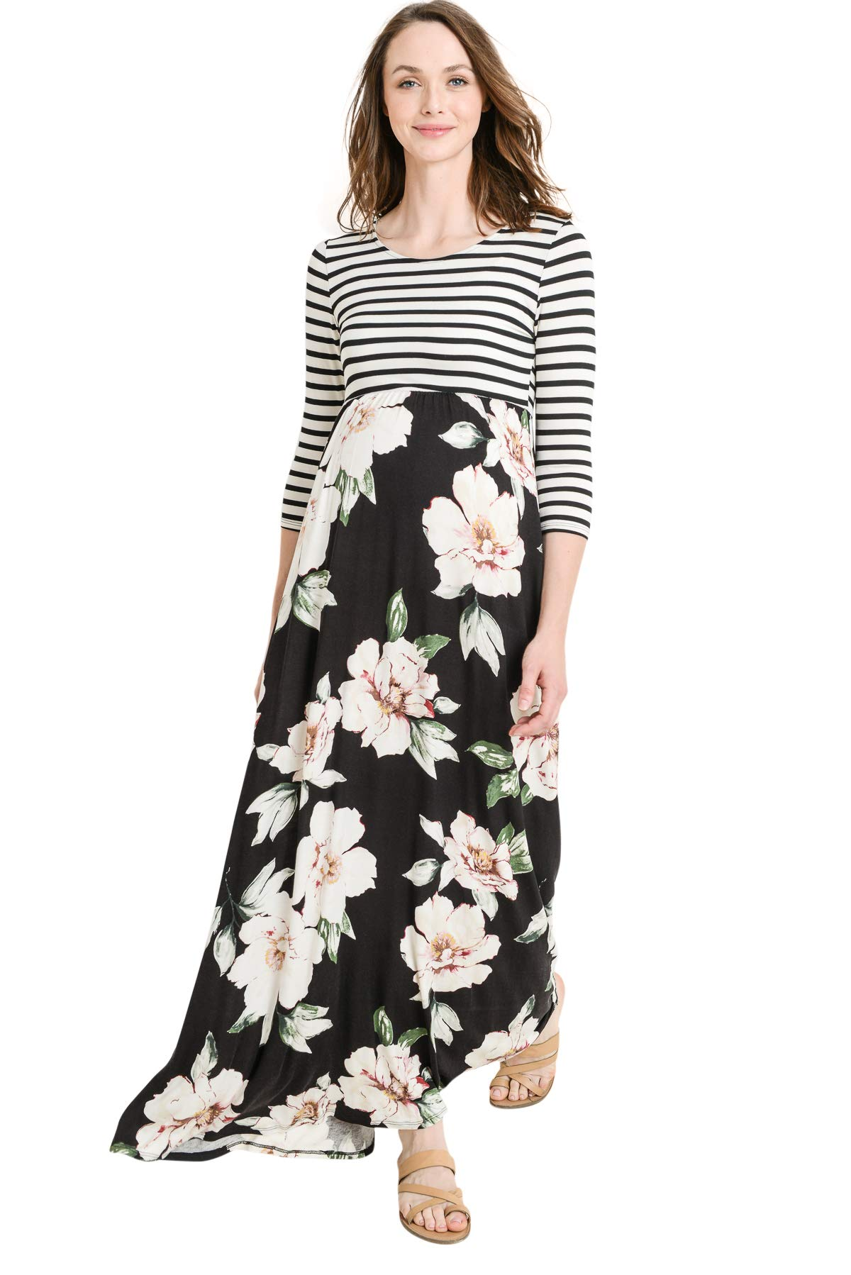 Hello MIZ Women's Floral Color Block Stripe Maxi Maternity Dress - Made in USA (Black/Ivory Flower, L)
