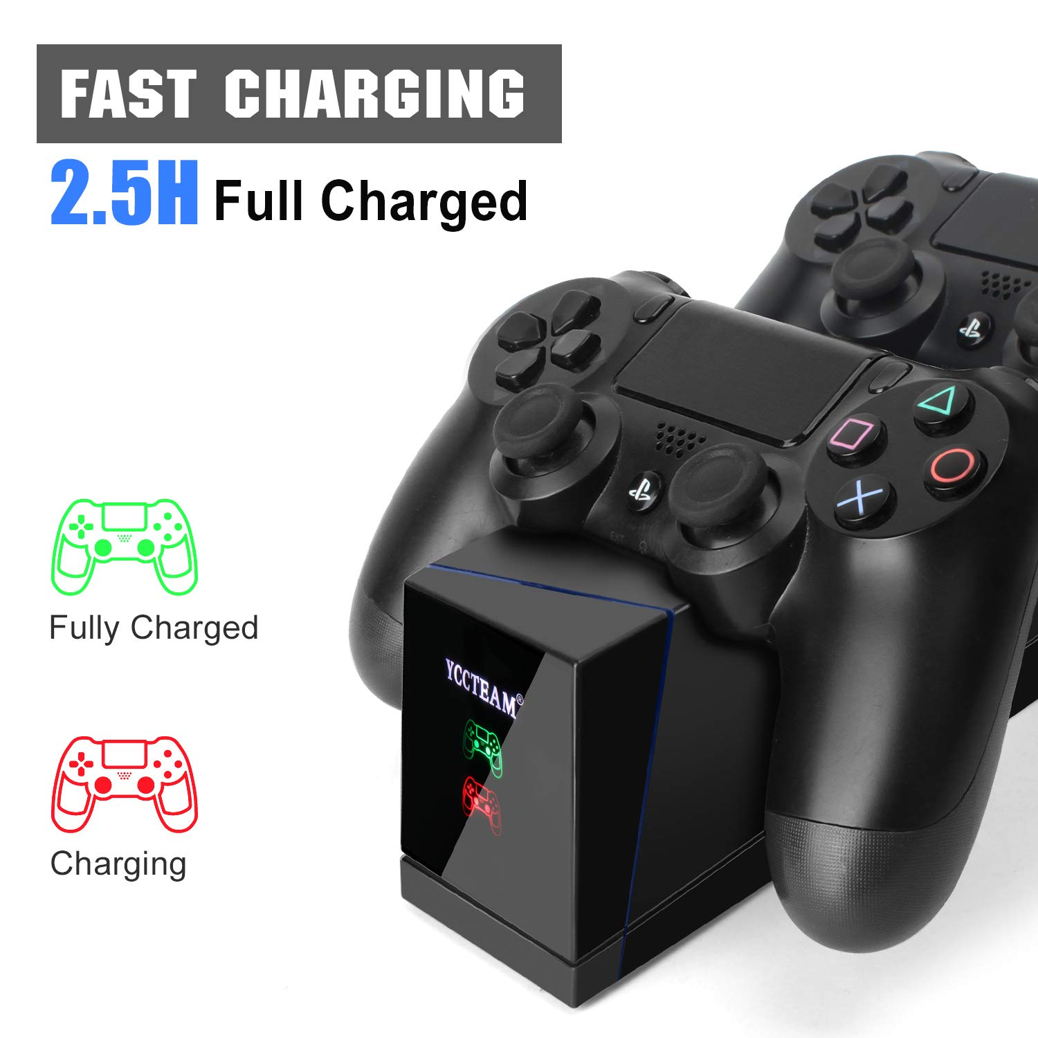 PS4 Controller Charger, Dual PS4 Modded Controller Charging Station for Sony Playstation 4 / PS4 / PS4 Slim / PS4 Pro Charging Dock Stand Station with IC-Chip Protection
