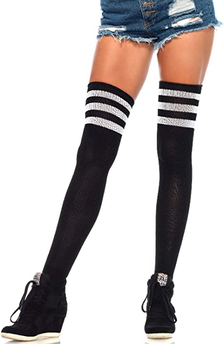 Leg Avenue Womens Two Striped Ribbed Athletic Thigh Highs